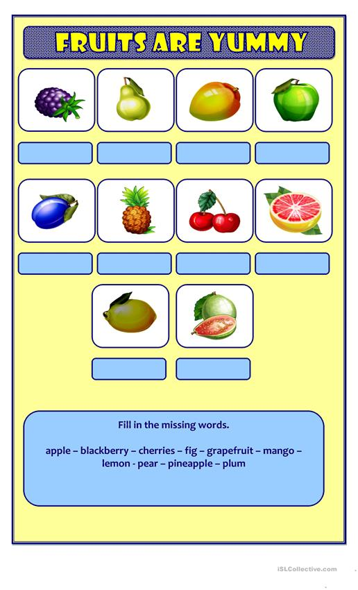 Fruits - Find the word (2)