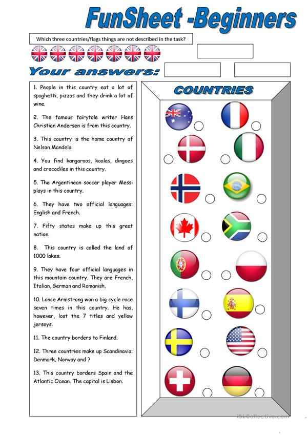 Funsheet for Beginners: Countries