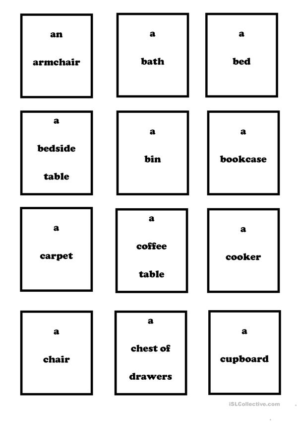 Furniture & Household Objects - vocabulary (Set 1)