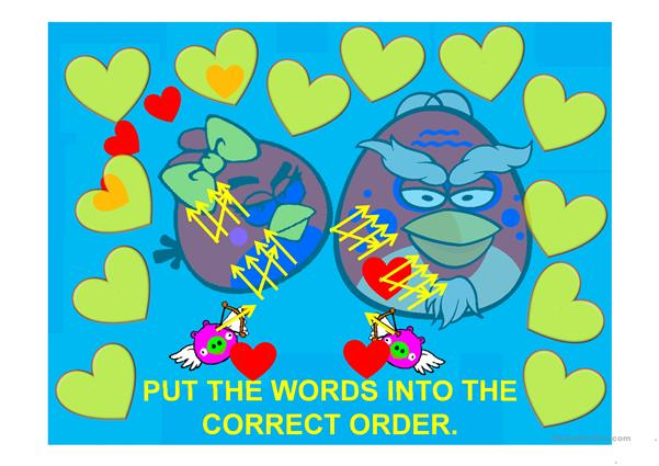 Greetings Angry Birds Word Order with scoreboard