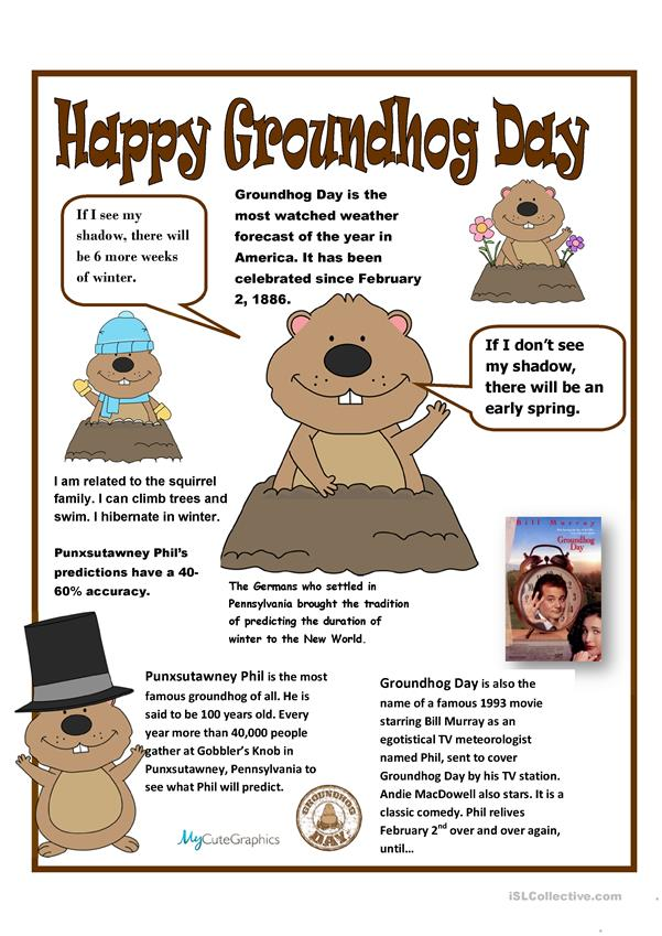 Groundhog Day Poster and Facts Sheet