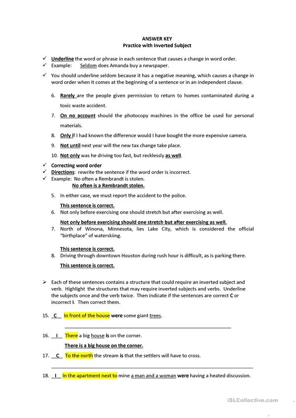 Inverted subject worksheet