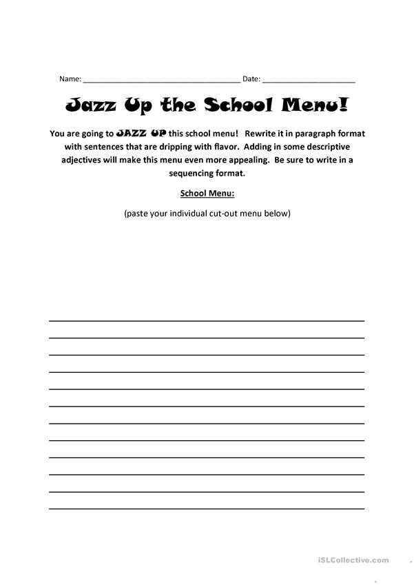 Jazz-Up The School Menu