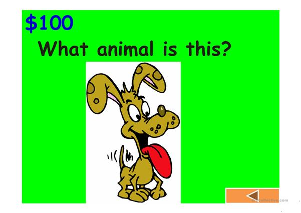 Jeopardy Game: body, animals, classroom, clothes and numbers