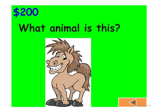 Jeopardy Game: body, animals, classroom, clothes and numbers (II)