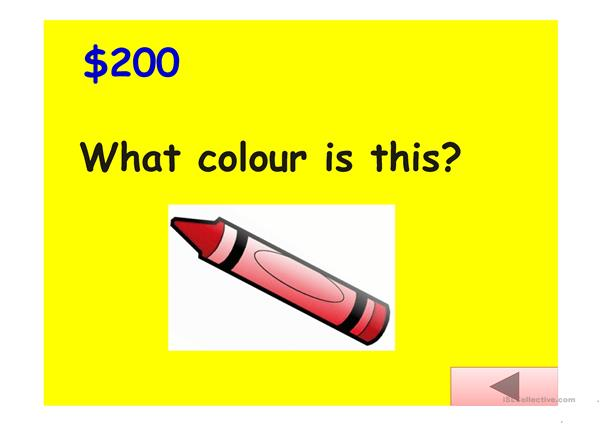 Jeopardy Game: colours, animals, classroom, fruits and numbers
