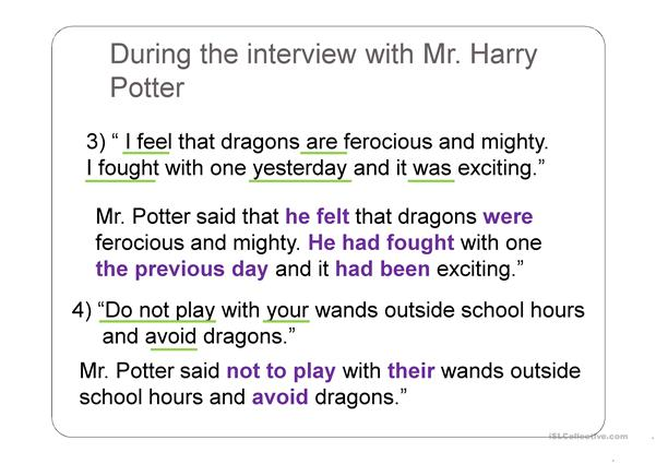 Learning about direct speech with Harry Potter