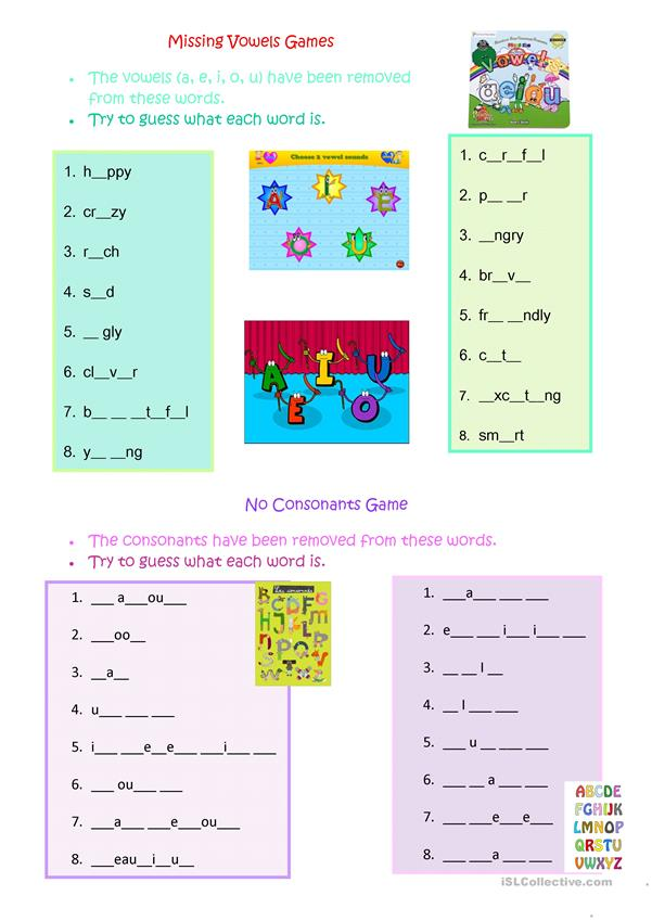 Missing Vowels & Consonants Game