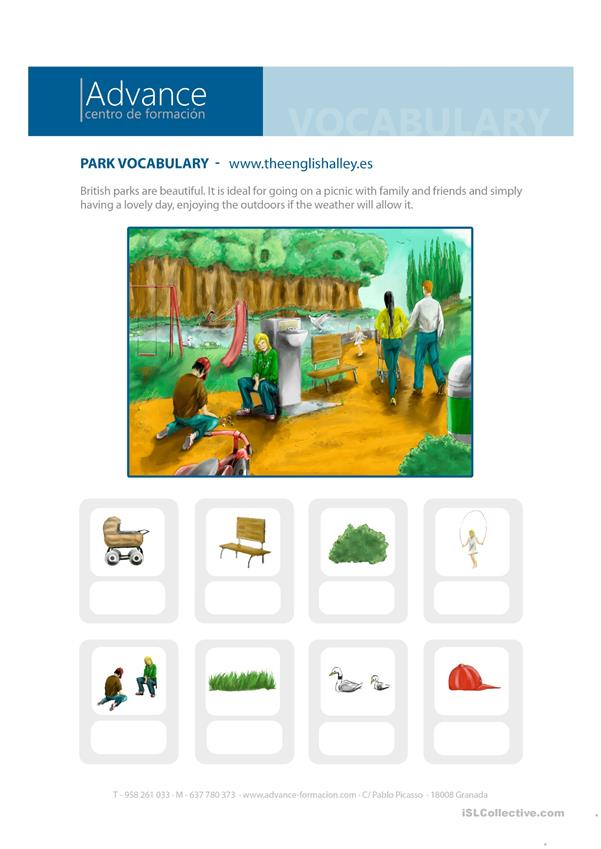 Park vocabulary for students