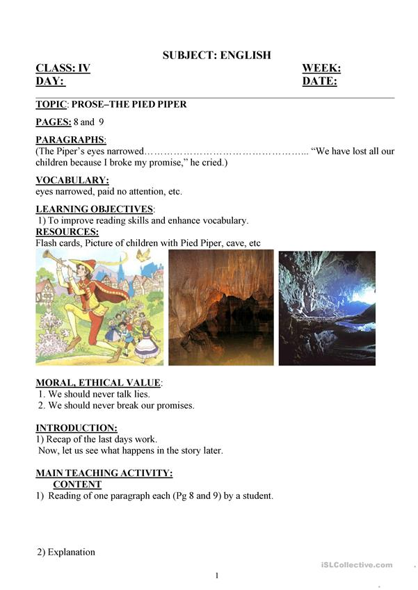 pied piper day 4 lesson plan