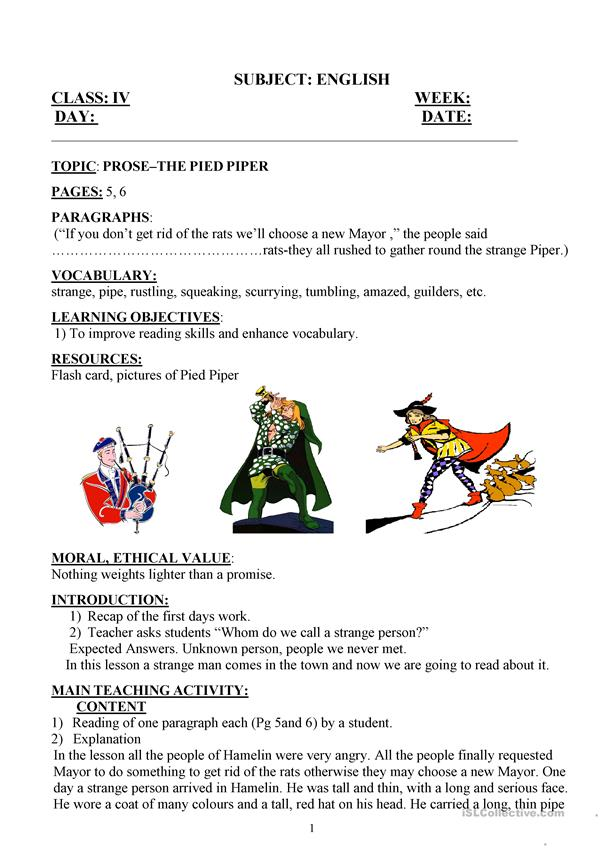 pied piper lesson plan day2