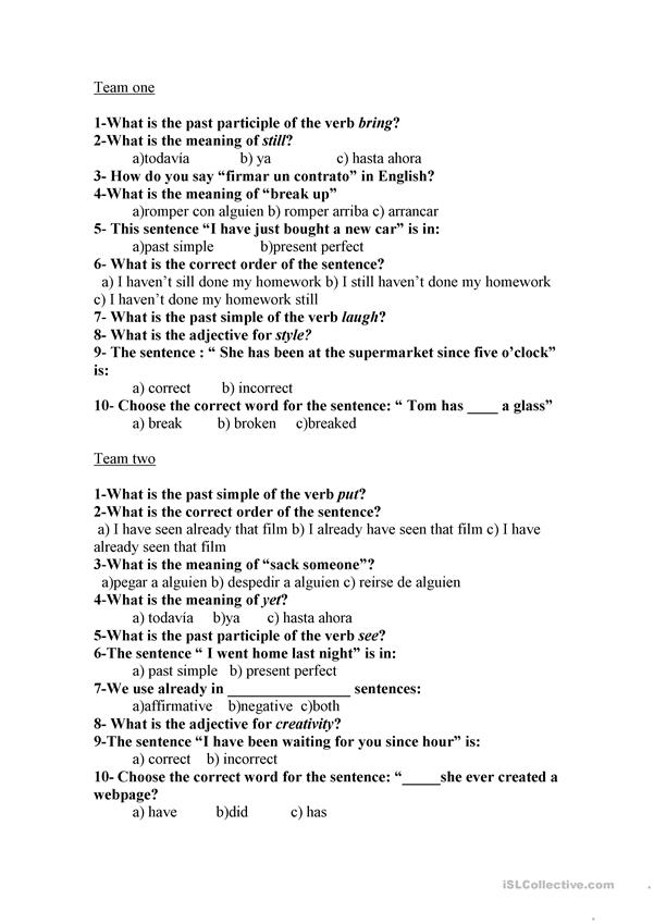 present perfect questionnaire