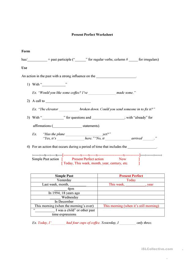 Present Perfect rules worksheet