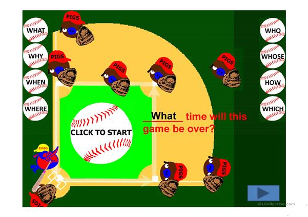 Question Words Angry Bird vs Angry Pigs Baseball Game