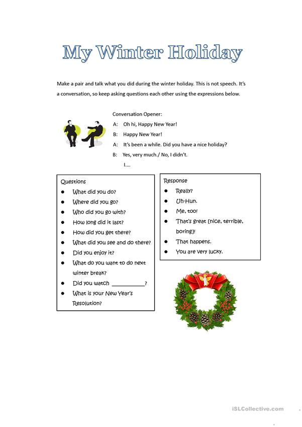 Speaking Activity: Winter Holiday