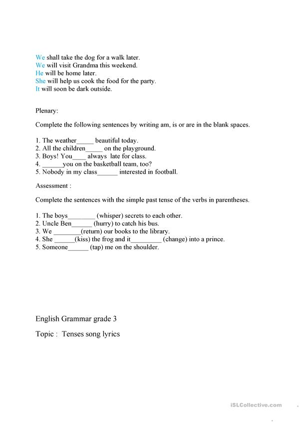 tenses lesson plan
