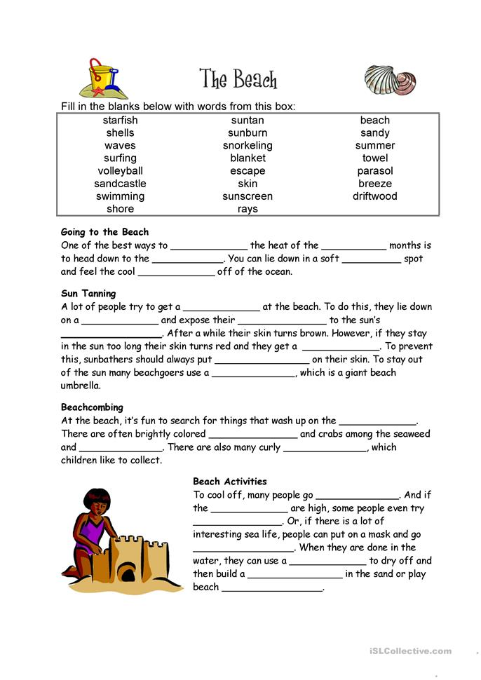 Beach Cloze activity worksheet - Free ESL printable worksheets ...