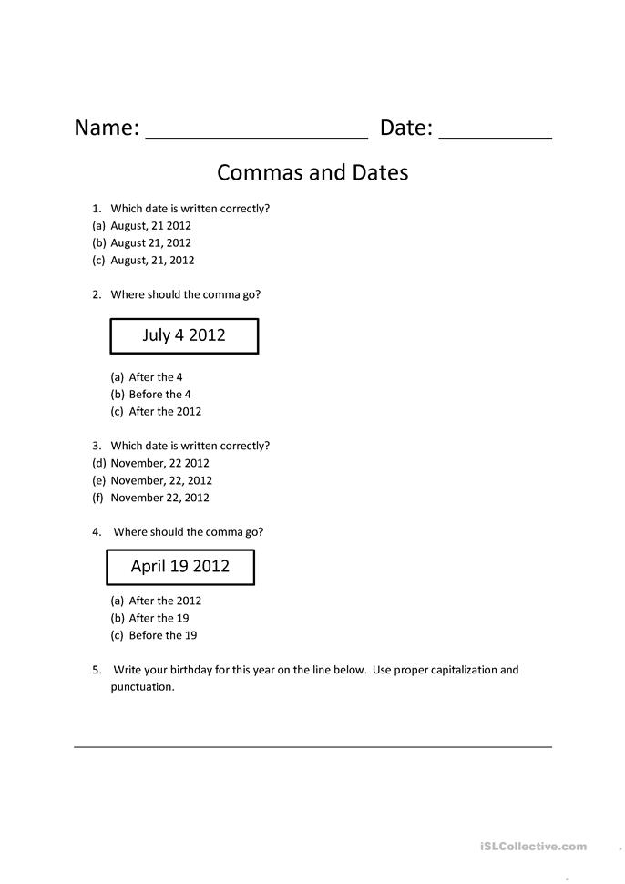commas and dates worksheet - Free ESL printable worksheets made by ...