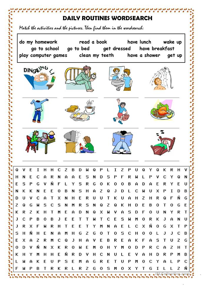 Daily routines picture dictionary and wordsearch - ESL worksheets