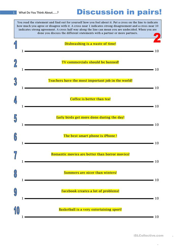8 FREE ESL pair discussion worksheets