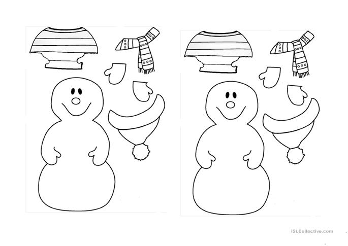 Dress the Snowman for Winter! worksheet - Free ESL printable ...