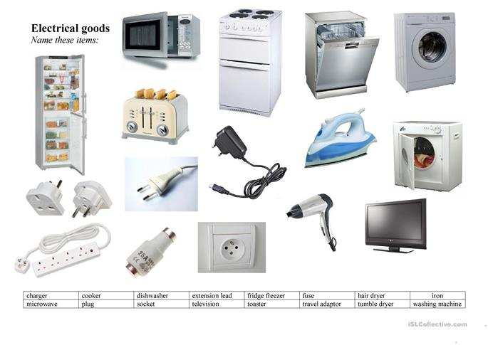 Electricity and electrical devices - ESL worksheets