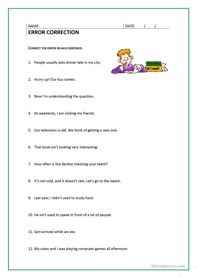 Printables Correcting Sentences Worksheets 25 free esl error correction worksheets correction
