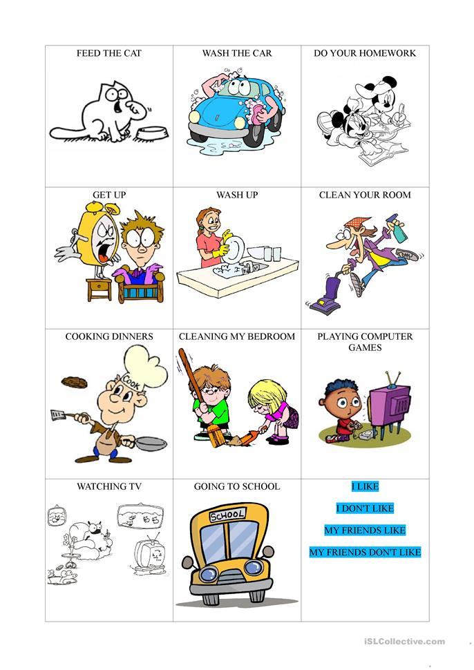 Everyday activities + likes and dislikes worksheet - Free ...