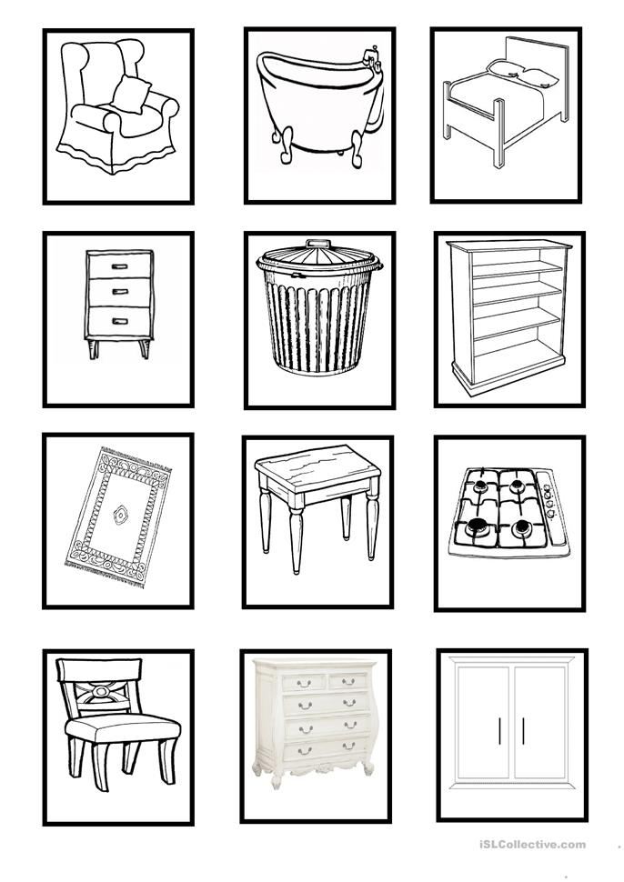 0 free esl household 20objects worksheets
