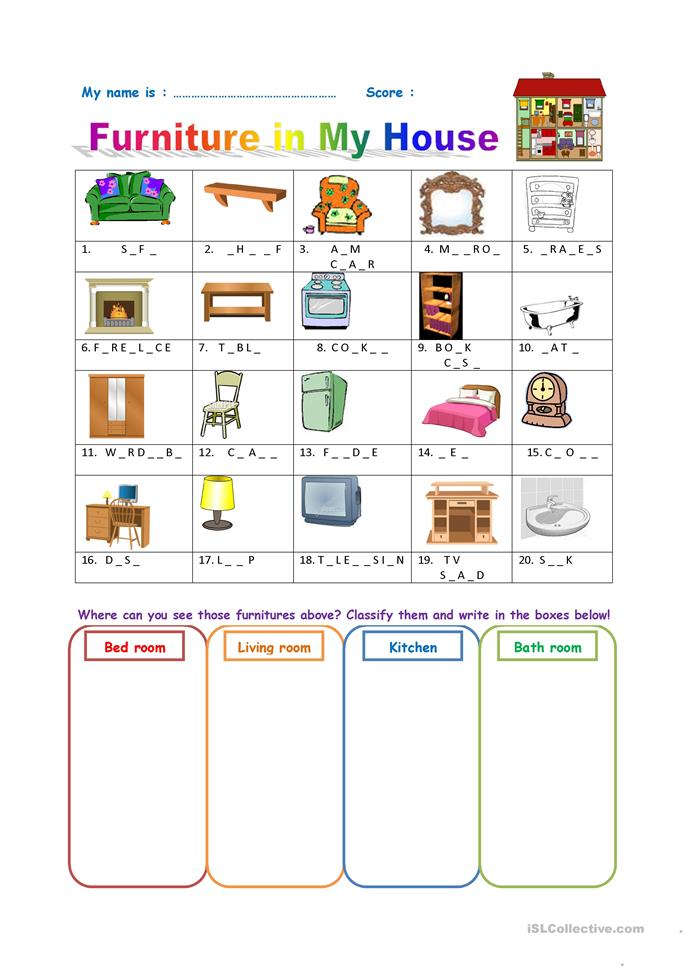 239 Free Esl Furniture Worksheets
