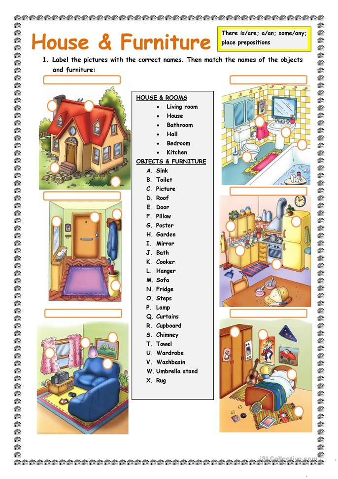 House and Furniture: There is/are. - ESL worksheets