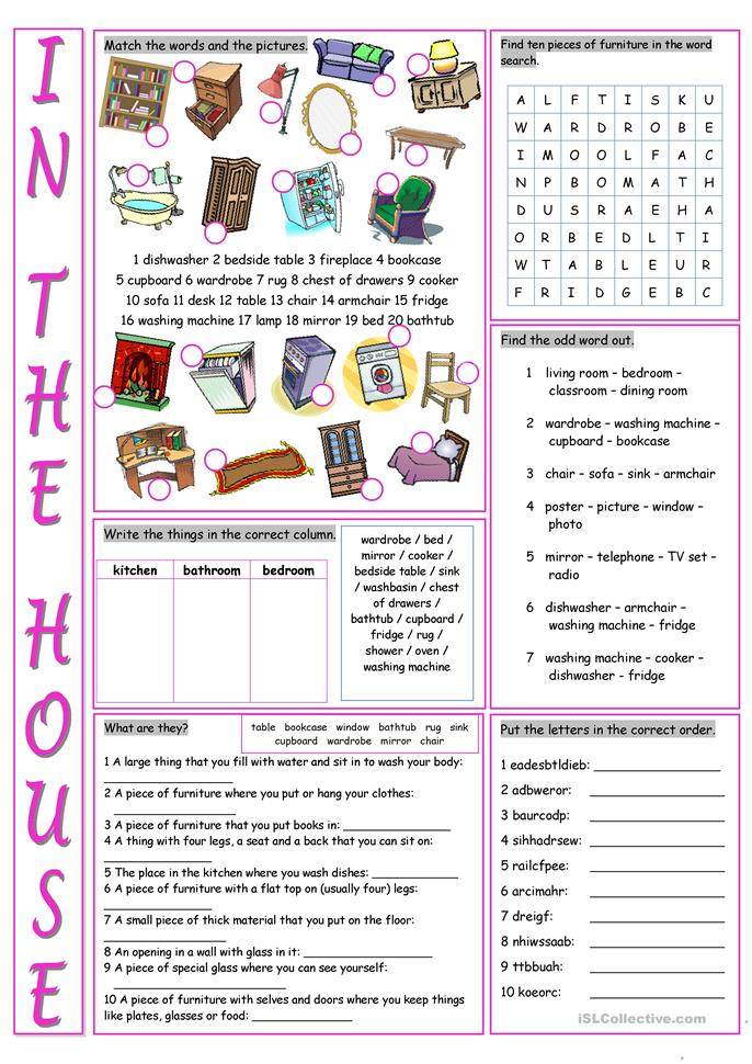 In The House Vocabulary Exercises Worksheet Free Esl