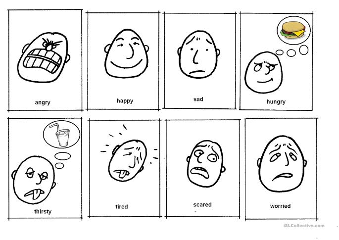 memory - adjectives - feelings (humours: sad, happy, worr... - ESL worksheets