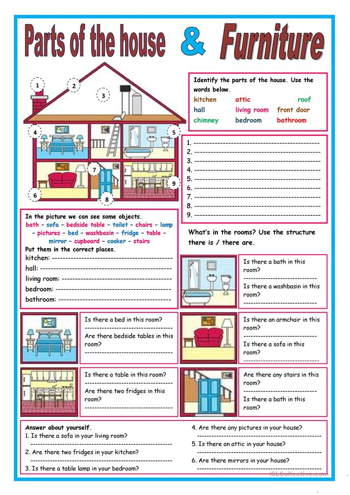 Parts Of The House And Furniture Worksheet Free Esl