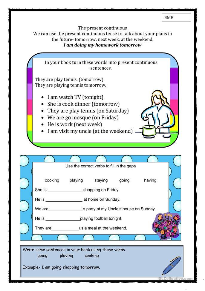 Present continuous for... - ESL worksheets