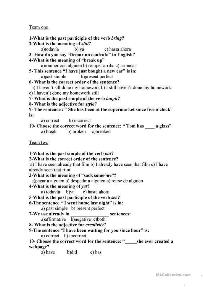 present perfect questionnaire - ESL worksheets