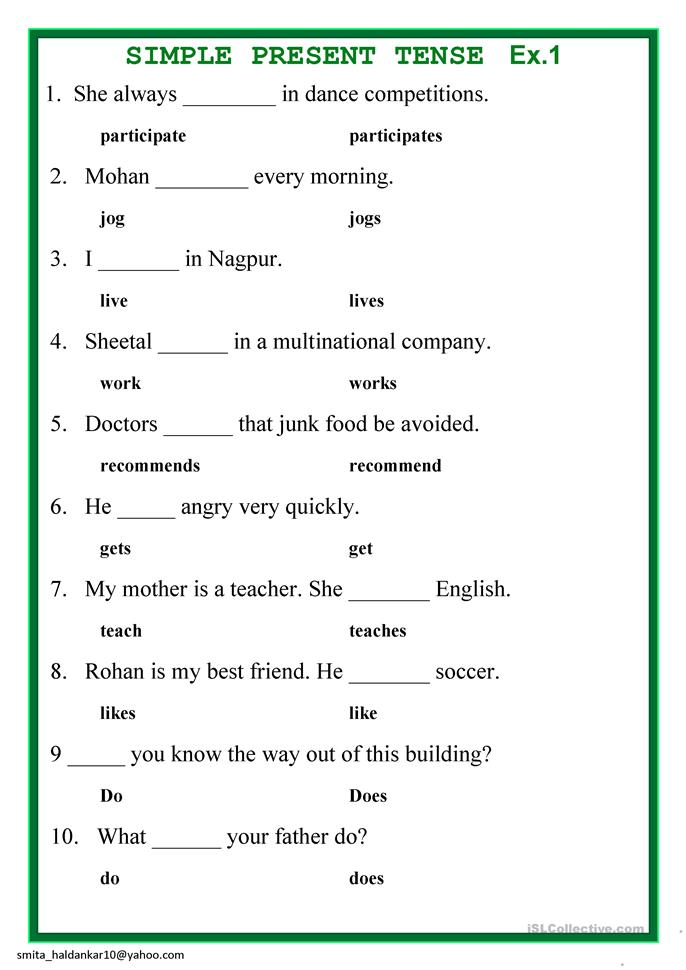Worksheets Simple Present Tense Worksheets present simple tense worksheet free esl printable worksheets made by teachers