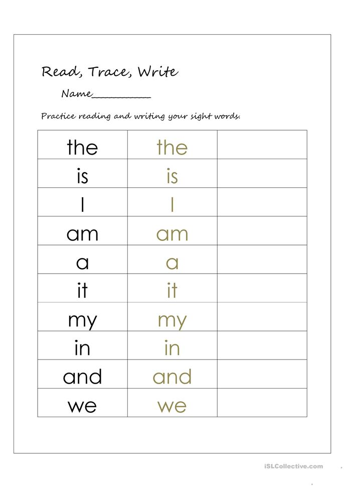 math worksheet : 21 free esl sight words worksheets : Free Printable Worksheets For Kindergarten Sight Words