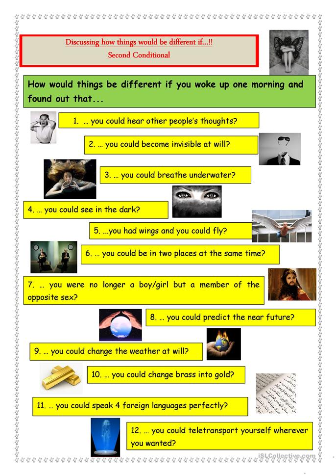 Second Conditional: How things would be different if...? - ESL worksheets