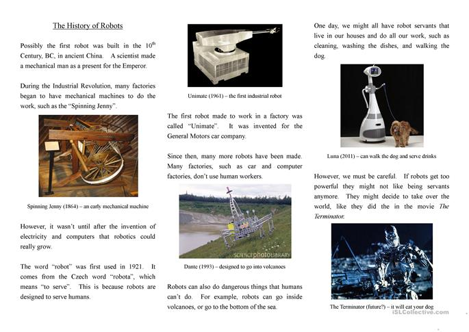 The History of Robots - reading worksheet - Free ESL printable ...
