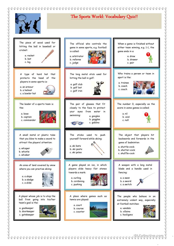 The Sports World: Vocabulary Quiz - ESL worksheets