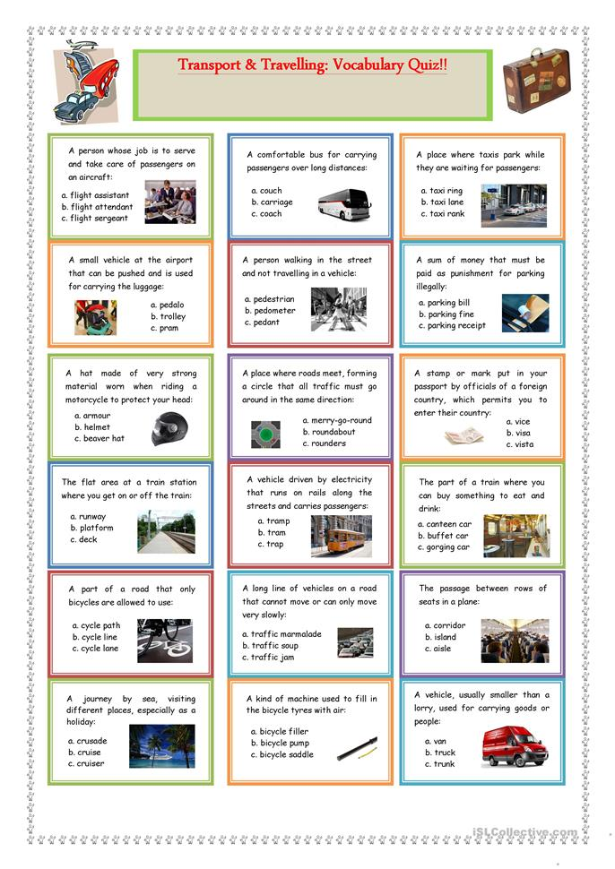Transport and Travelling: Vocabulary Quiz - ESL worksheets