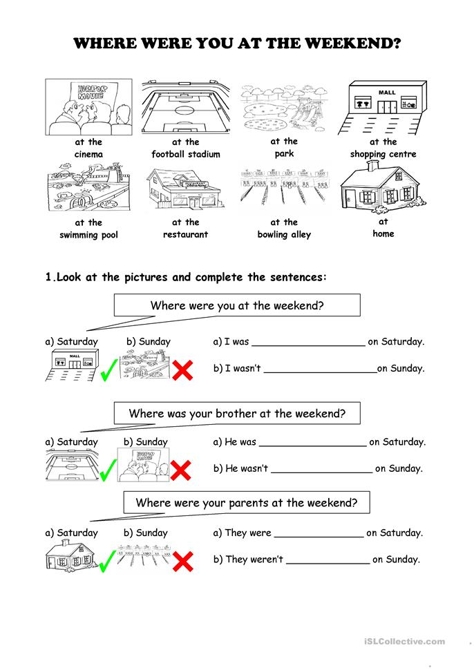 Who What Where When Worksheets : Where were you at the weekend worksheet free esl