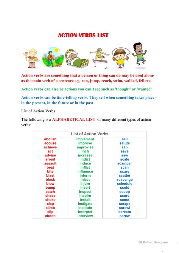 action verbs list a to z worksheet