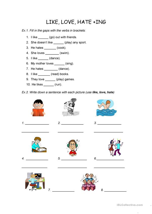 LIKE, LOVE, HATE + ING - English ESL Worksheets For Distance Learning And  Physical Classrooms