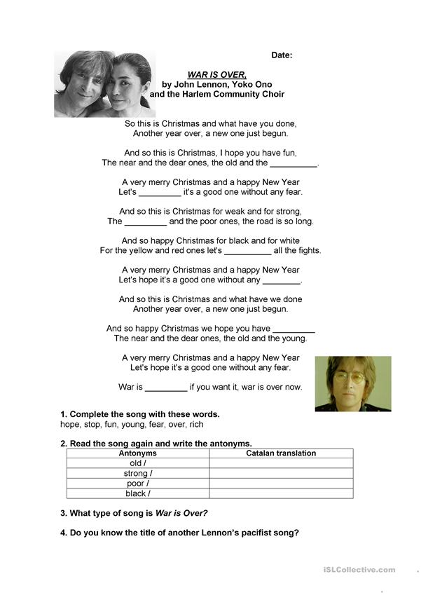 Song: War is Over (John Lennon) worksheet - Free ESL printable ...