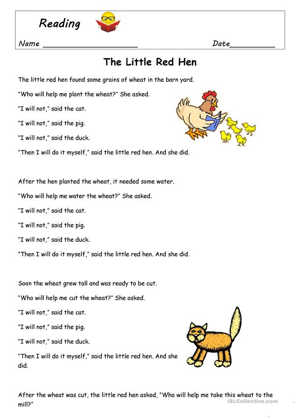 The Little Red Hen Worksheet Free Esl Printable