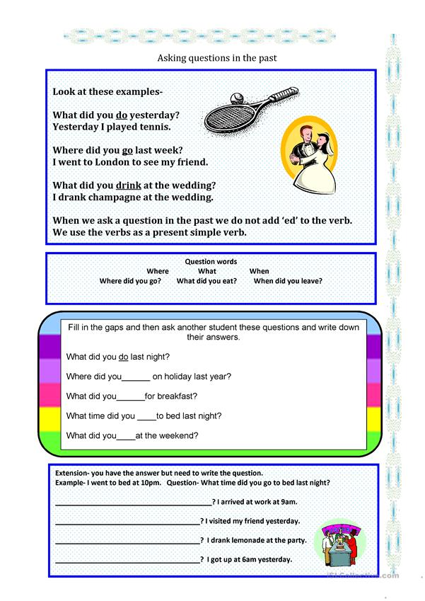 the past simple- asking questions worksheet - Free ESL ...