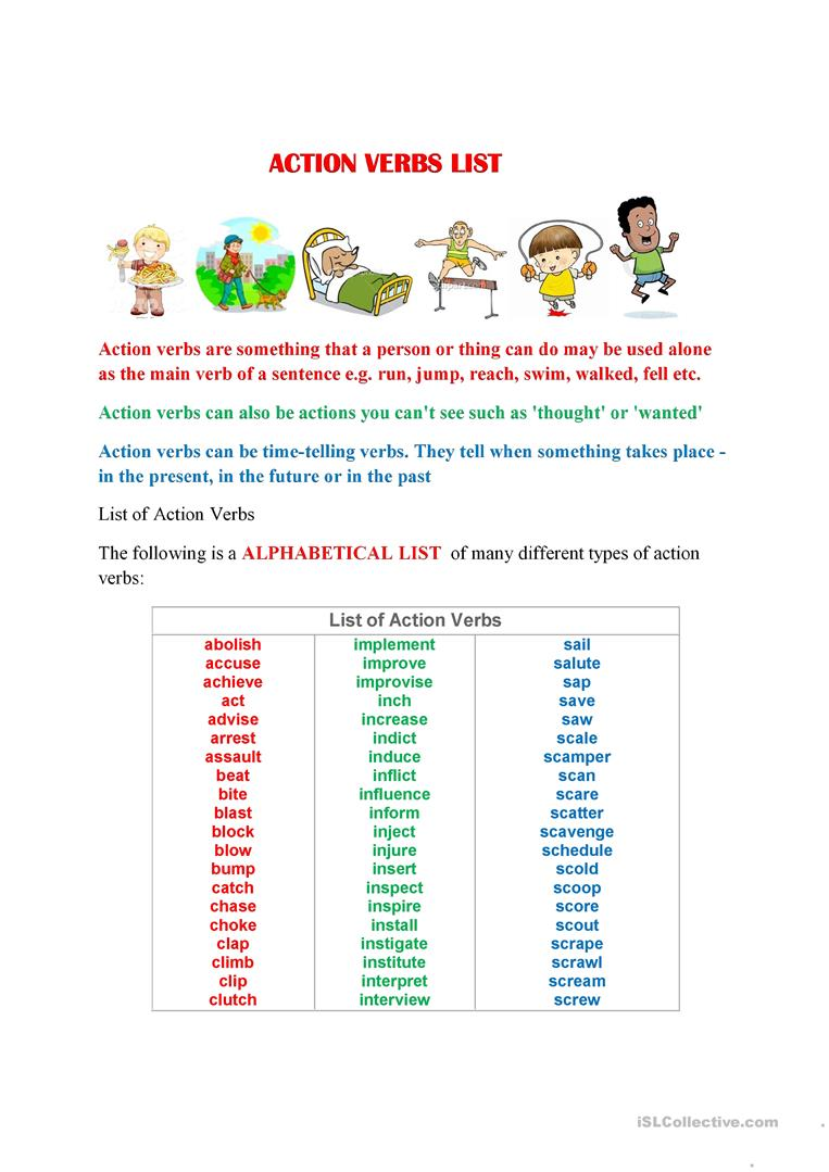 ACTION VERBS LIST A TO Z - English ESL Worksheets