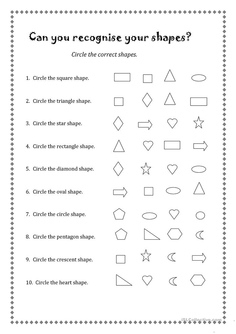 Color shapes worksheet - Can You Recognise Your Shapes
